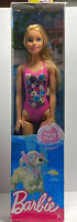 New Mattel Barbie Water Play Blonde Beach Doll One Piece Pink Suit F1
