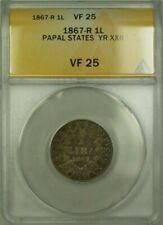 1867-R Papal States Year XXII 1 Lira Coin ANACS VF 25