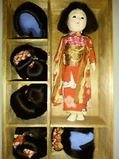 """Vintage Japanese Gofun Doll 5"""" With 5 Real Hair Wigs"""
