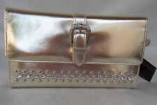 Ohh Ashley Checkbook Wallet Nailheads Stones & Western Buckle Platinum Metallic