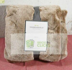 "Threshold- Faux Rabbit Fur Throw Blanket 50""x60"", Brown"