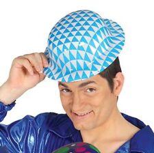 Cappello bavarese bombetta in plastica copricapo bianco azzurro oktoberfest
