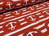 Stoff Sweatshirtstoff French Terry Jersey Maritim Anker Streifen rot weiß