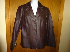 WOMEN'S NEWPORT NEWS BROWN LEATHER JACKET SIZE 12