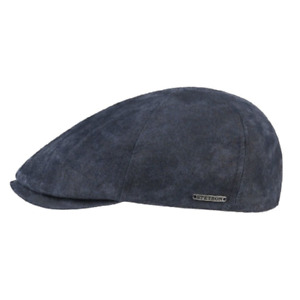 Stetson Ivy Leather 6-Panel Flat Cap Blue