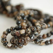 "Grade A Natural Turritella Agate Gemstone Round Beads - 4mm - 16"" strand"