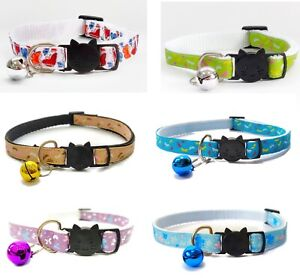 Cat Collar with Bell - Butterfly Print   Pet Collars   Safe Quick Release Buckle