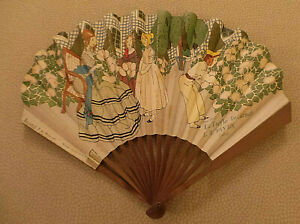 L.T. Piver Advertising Fan by Bernard de Monvel lady/children in garden 1900 VG
