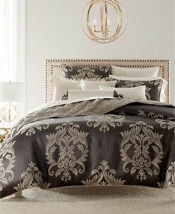 Hotel Collection FULL/QUEEN Comforter Classic Flourish Damask Jacquard J0Z226
