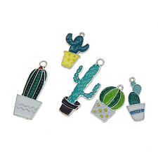 Pack of 10 Multi-style Enamel Cactus Plants Charms Pendants for Jewelry Making
