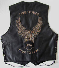 USA Ride To Live Eagle Motorcycle Motorbike Biker Leather Waistcoat Vest L 40""