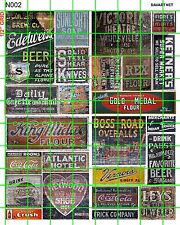 N002 DAVE'S DECALS N SCALE DECALS OLD GHOST SIGN ADVERTISING SET 2 Asstd BRANDS