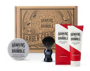 Hawkins & Brimble Men's Shave Brush, Shave Cream, Aftershave Balm Gift