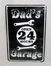 Dad's Garage Open 24 Hours Metal Novelty Sign Garage Tool Shop Indoor Outdoor