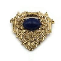 Vintage Gold Tone Acrylic Blue Fashion Triangle Brooch Pin 1.58 Inch