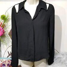 L'AMOUR Top Womens SMALL Nanette Lepore  Cold Shoulder Black Shirt