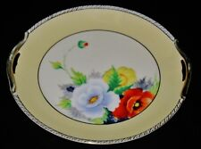 Noritake - Morimura - Hand Painted - Gold Handled, Yellow Band - Cake Plate