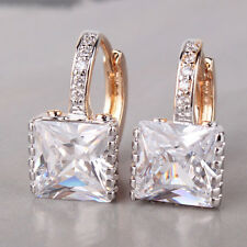 Lxury 10mm Square Diamond-Cut Clear Sapphire 18k Gold Filled Lady Earrings Studs