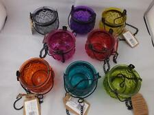 Glass Moroccan Style Hanging Candle Holders in a Variety of Colours 4 Holders.
