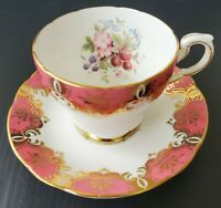 Paragon Floral Pink Berries Teacup and Saucer Set Gold By Appointment To Queen