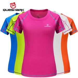 Queshark Women Quick Dry Running T Shirt Sports Tank Tops Breathable Slim Fitnes