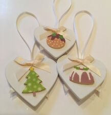 3 X Christmas Decorations Tree Pudding Shabby Chic Real Wood Heart Cream Bows