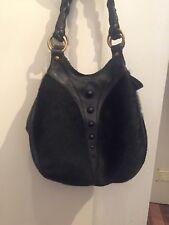 Gorgeous Large Thick Black Leather And Black Ponyhair Shoulder Bag Blush B-lush