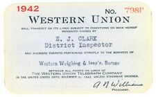 1942 Western Union Telegraph Company Western Weighing Insp'n Bureau Account Card