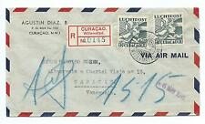 CURACAO: Registered airmail cover to Venezuela 1941.