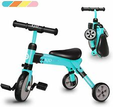 2 in 1 Kids Tricycles For 2-4 Years Old Kids Toddler 3 Wheels Folding Bike Trike