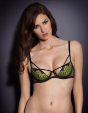 Agent Provocateur ELECTRA Plunge Bra in Black/Green Sz:36B Ret:$220 New w/Tags