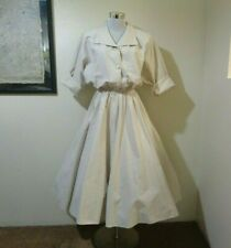 80s does 50s The American Shirt Dress Beige Cotton Blend Full Skirt Day Dress M