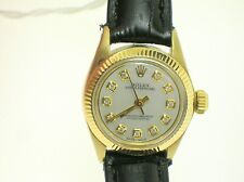 ROLEX 6719 OYSTER PERPETUAL 14K GOLD LADIES WRIST WATCH WITH DIAMONDS - MOP DIAL