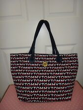 b220ae70 Tommy Hilfiger Women's Signature Large Tote Bag Purse Navy Blue Canvas Gold  Logo