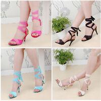 5e7bd504e1d Womens Roma High Heel Lace Up Slingbacks Open Toe Summer Sandals Shoes Plus  Sz