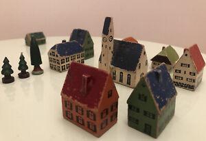 Antike Gebäude Holz Dorf Spielzeug  Modelleisenbahn
