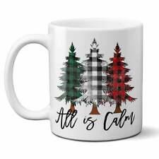 All is Calm Christmas Mug Gift Christmas Tree Mug Plaid Christmas Trees Holiday