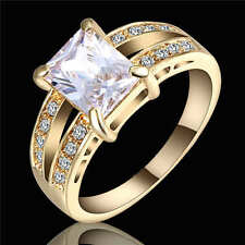 Women's White Sapphire Zircon Wedding Band Ring 18K Yellow Gold Filled Size 9