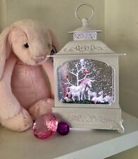 ~❤️~UNICORN Family Large White Lantern LED Night Light Snow Globe BATTERIES Inc