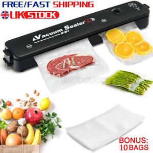 Automatic Food Vacuum Sealer Packing Machine Kitchen Storage w/ 10 Sealing Bags