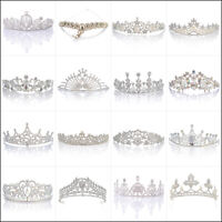 Wedding Bridal Tiaras Pearl Rhinestone Crystal Headbands Wedding Veil Hair Crown