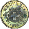 1876-B Switzerland 10 Rappen BU w/ Colorful Toning - Z - XM