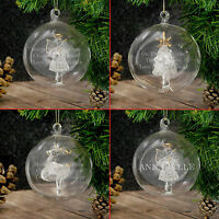 Personalised Engraved Luxury Glass Christmas Tree Baubles Message Decorations