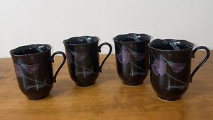 "Mikasa Rondo ""Tango"" Ceramic Coffee Mugs Set Of 4 EJ 702 Made in Japan"