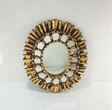 New listing Vintage Oval Sunburst Gilt Wood Mirror - Mid Century European