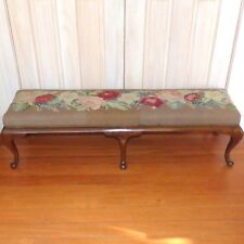 19th Century Mahogany Long Footstool with Needlework Roses