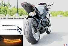 18 LED Motorcycle Turn Signals Flexible Strip Blinkers Slim Flush Tail Lites EVO