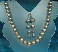 """TAXCO STERLING PEARLS Set 131g BENCH WORK Ball Beads 30"""" Necklace 3.25"""" Earrings"""