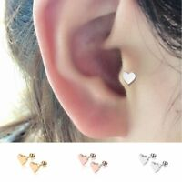 Silver Gold Piercing Jewelry Tragus Earrings Cartilage Helix Heart Shape Studs