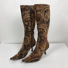 Diba Velveteen Carpet Tapestry Paisley Black Gold Boots Size 8B